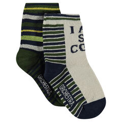 Set of 2 pairs of socks with jacquard stripes
