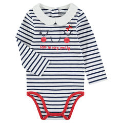 Long-sleeved jersey bodysuit with allover stripes and a Peter Pan collar
