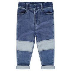 Used-effect denim-look jeans with a bear cub patch in back