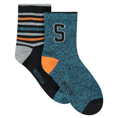 Set of 2 pairs of assorted socks, striped/with motif