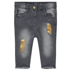 Used-effect denim capri pants with golden stains