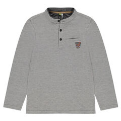 Junior - Long-sleeved polo shirt in micro-jacquard with badge