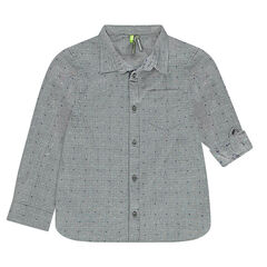 Shirt with retractable sleeves and a neps-effect jacquard motif