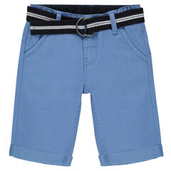 Twill Bermuda shorts with removable belt and surf patches
