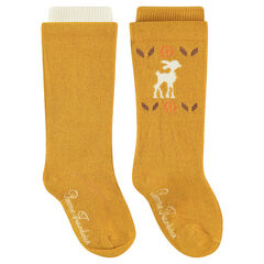 Set of 2 pairs of thick tights with jacquard forest animal