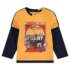 2-in-1 effect long-sleeved tee-shirt with printed motif