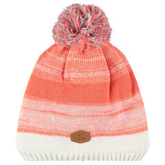 Striped knit hat with sherpa lined tassel