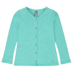 Plain-colored, rib knit cardigan