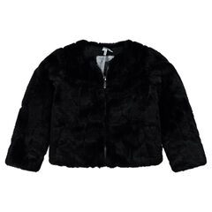 Short fake fur jacket with sherpa lining