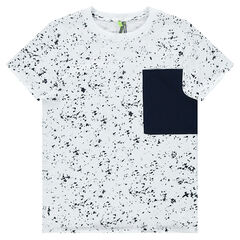 Junior - Short-sleeved spotted tee-shirt with a large pocket