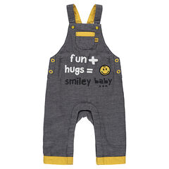Cotton overalls with a ©Smiley badge and printed text