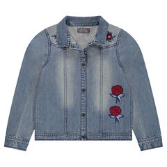 Junior - Used-effect denim jacket with embroidered roses