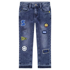 Used-effect jeans with ©Smiley badge patches