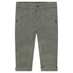 Pinstripe velvet pants with jersey lining