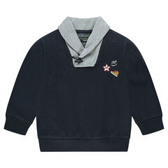 Shawl collar sweatshirt with embroidered badges