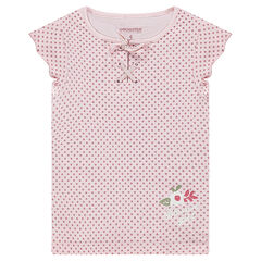 Short-sleeved tee-shirt with allover polka dots and a trendy collar