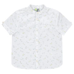 Short-sleeved shirt with allover bicycles print