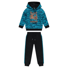 Fleece sweatsuit with army motif and printed tiger head