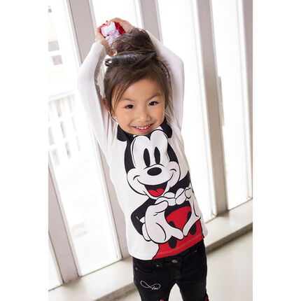 Long-sleeved jersey tee-shirt with a ©Disney Mickey Mouse print and frilled collar