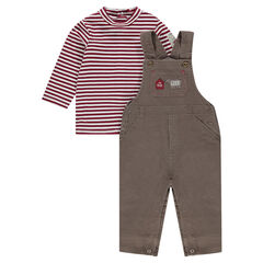 Ensemble with a pair of overalls and a thin striped jersey sweater