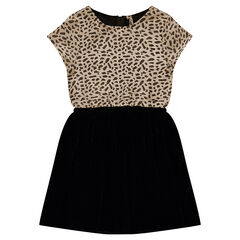 Junior - Short-sleeved bi-material dress with a jacquard and velvet motif