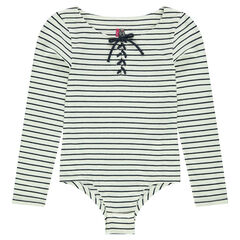 Junior - Long-sleeved striped bodysuit with lacing