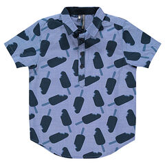 Junior - Short-sleeved chambray shirt with printed ice creams