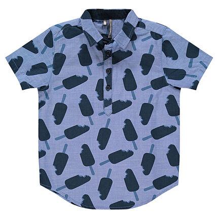 Junior - Short-sleeved chambray shirt with printed ice creams