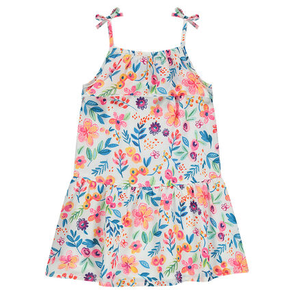 Frilled dress with a flowery print