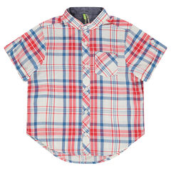 Plaid Short Sleeve Shirt with Mao Collar