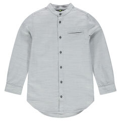 Junior - Long-sleeved cotton shirt with Mao collar