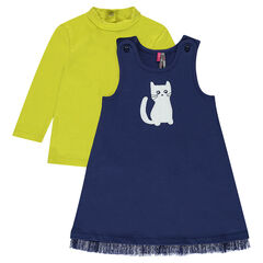 Ensemble with fleece dress with a cat print and a thin sweater