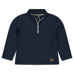 Junior - Plain Microfleece Sweatshirt with Zip Neck