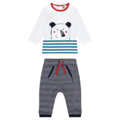 Ensemble with a tee-shirt featuring a teddy bear print and chevron pants