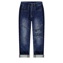 Used-effect jeans with tears and a printed message
