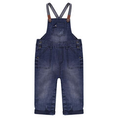 Used denim-effect jersey overalls with straps
