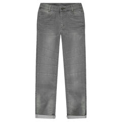 Junior - Used and crinkled gray jeans with cut-outs