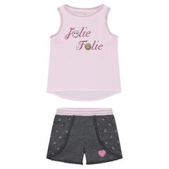 Ensemble with a tank top featuring a sparkly message and ©Smiley shorts with pompom trim