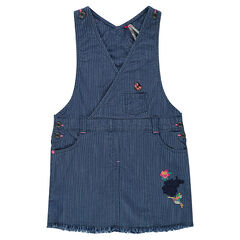 Overall-style striped denim dress with embroidery