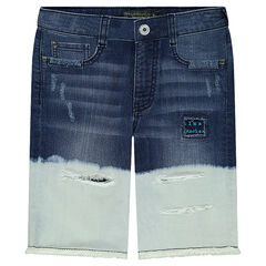 Junior - Tie-and-dye effect denim bermuda shorts with tears