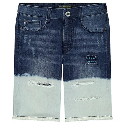 Junior - Tie-and-dye effect denim bermuda shorts with tears