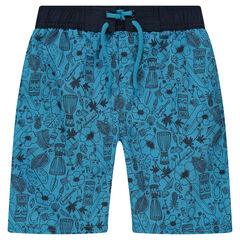 Blue swim trunks with an allover print