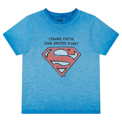 Short-sleeved tie-and-dye effect tee-shirt with ©Warner Superman logo print