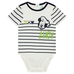 2-in-1 effect short-sleeved bodysuit with a Disney Mickey Mouse print