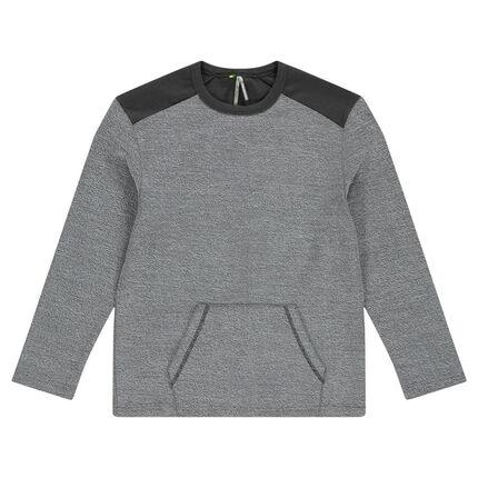 Trendy fleece sweatshirt with contrasting elbow patches