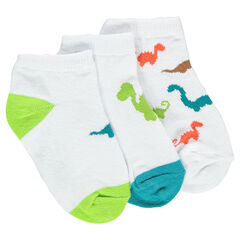 Set of 3 pairs of short socks with dinosaurs motif.