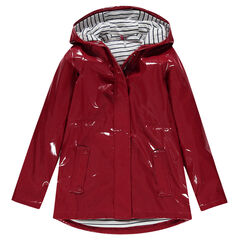 Junior - Vinyl-effect raincoat with striped lining.