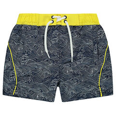 Swim trunks with allover printed waves