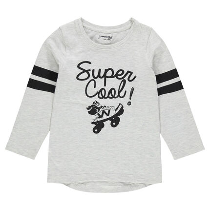 Junior - Long sleeve creative print T-shirt with contrasting bands