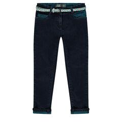 Slim jeans with printed belt
